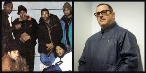 Left; clockwise - L.E.S., Pete Rock, Nas, Large Professor, DJ Premier, & Q-Tip.  Right; MC Serch