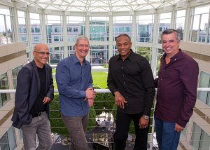 Jimmy Iovine, Tim Cook (Apple CEO), Dr. Dre, & Eddie Cue (Exec. in Charge of Internet Services)